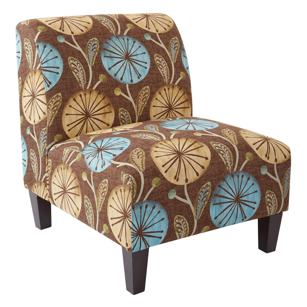 ave six magnolia dandelion aqua fabric accent chair and solid wood polyester office chairs piece table set legs high top dining room furniture pottery barn frog drum mini tiffany