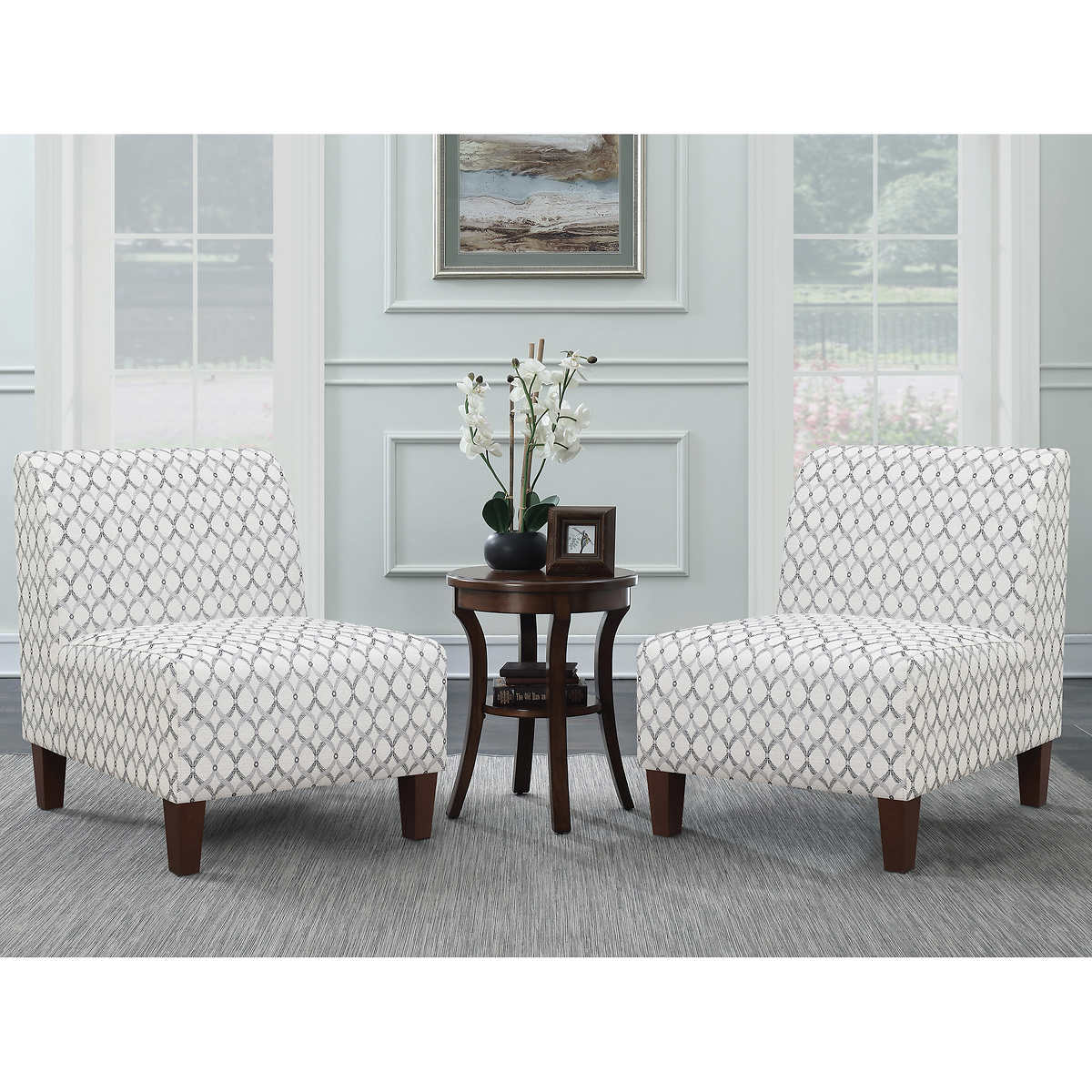 ave six piece fabric chair and table set service accent side with one drawer curved mirrored bedside distressed white high top dining couch armless long narrow behind round linen