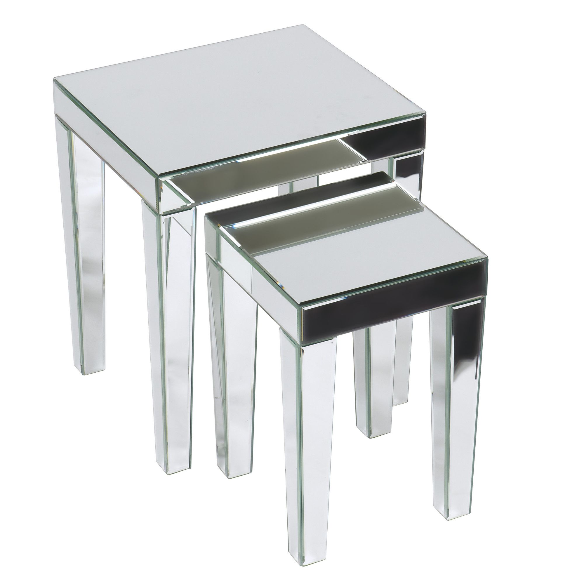 ave six reflections collection silver mirrored nesting tables set small accent table includes large with slide out drawer decorative crystal handle model farmhouse style kitchen