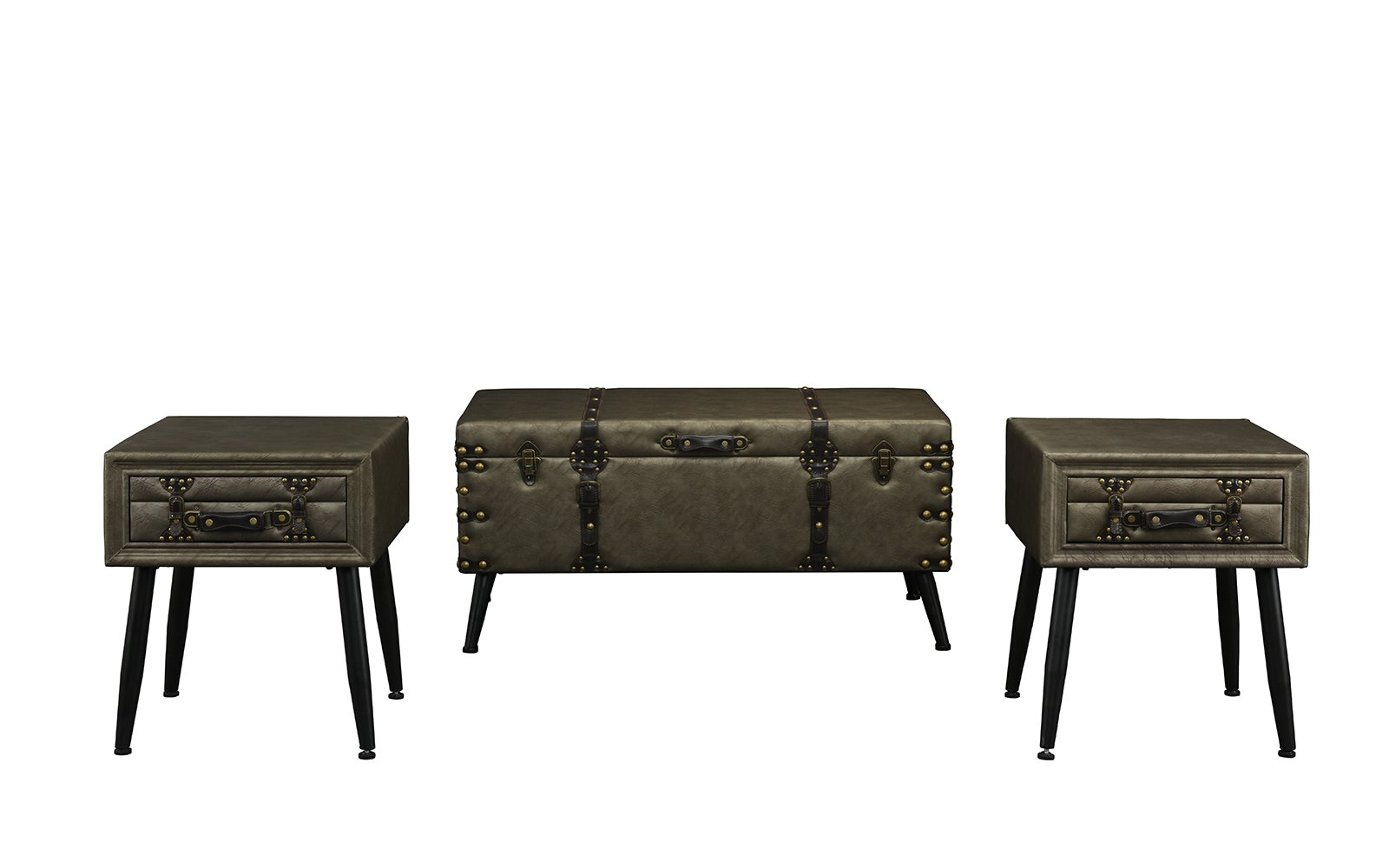 averie piece faux leather storage chest accent table set gry drinks cooler black bedside with drawers glass gold legs luau cupcakes grey farmhouse home interior accessories barn