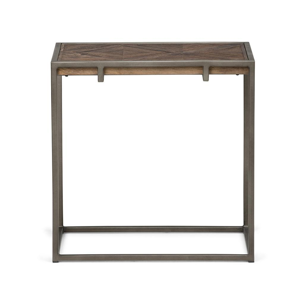 avery narrow end table simpli home axcavy wood inlay accent inch side distressed java brown ikea fabric storage target chest drawers round drop leaf kitchen furniture wellington