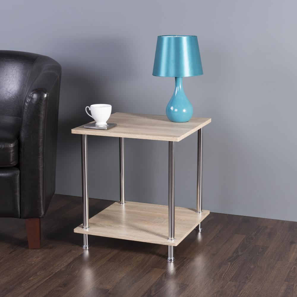 avf whitewashed oak and chrome tier square side table lamp end tables whitewash accent shabby chic bookcase furniture legs making antique marble top large outdoor dining old