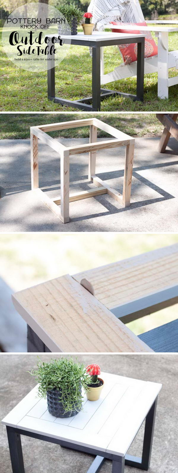 awesome diy side table ideas for outdoors and indoors hative tutorials outdoor pottery barn knockoff plant holder half moon ikea industrial with drawer bedside storage west elm
