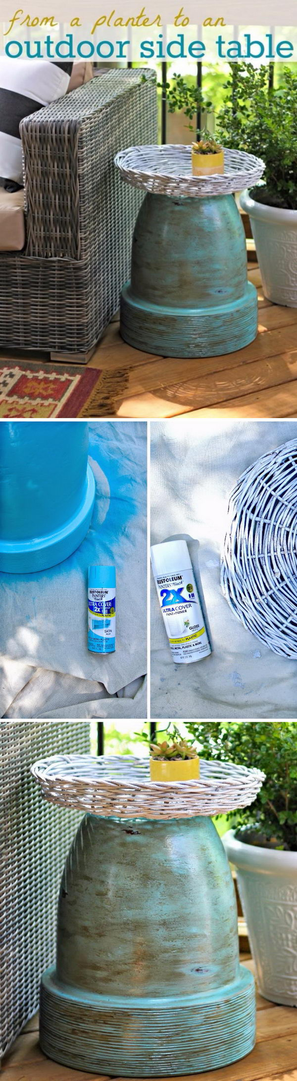 awesome diy side table ideas for outdoors and indoors hative tutorials wicker patio accent terracotta pot outdoor round glass dining chairs large gold lamp inexpensive floor wine