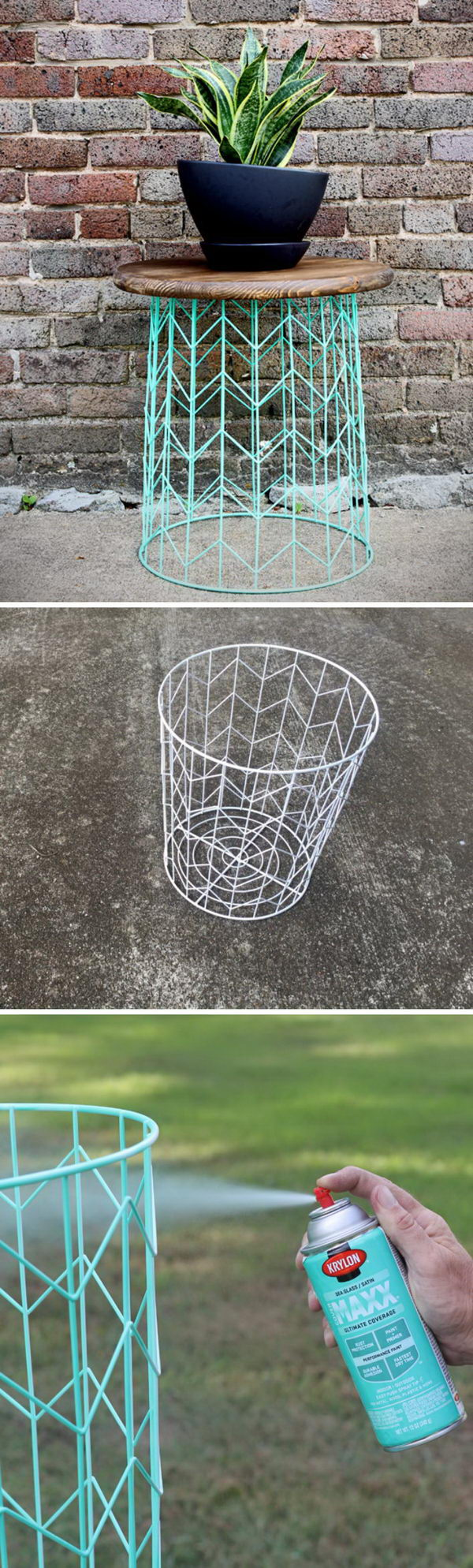 awesome diy side table ideas for outdoors and indoors hative tutorials wire basket accent outdoor porch vintage white rugs antique drop metal lamp bulb wooden bedside cabinets