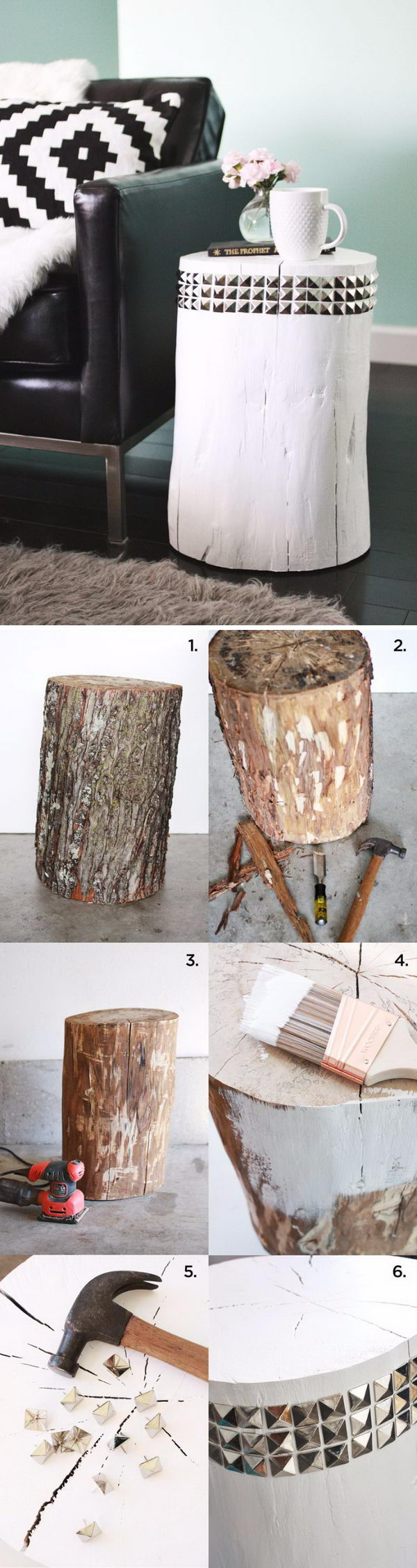 awesome diy side table ideas for outdoors and indoors hative tutorials wire basket accent studded tree stump patio seating counter height dining with bench mirrored console metal