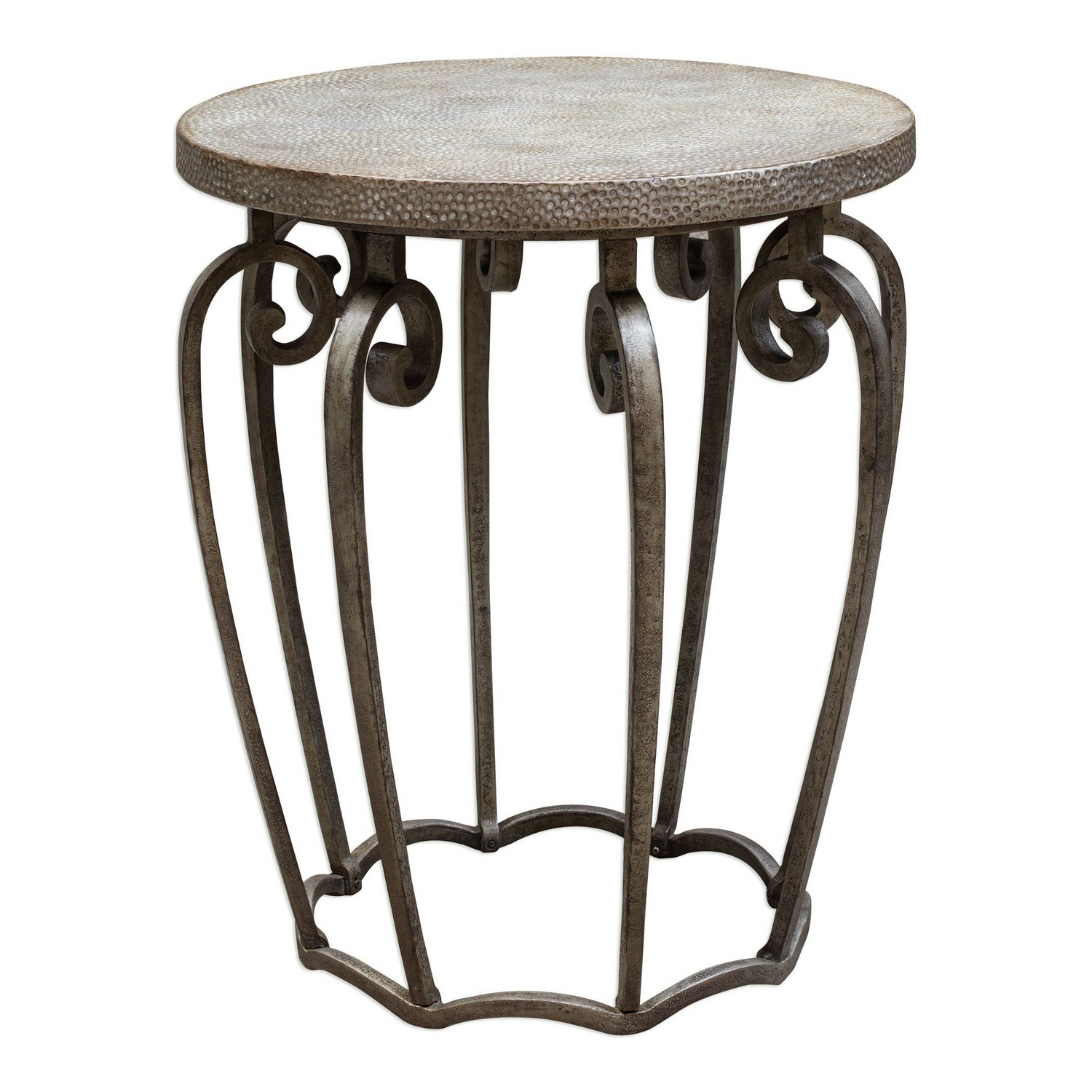 awesome iron accent table with round end rustic gorgeous uttermost anina hammered metal french console large square white coffee cherry wood tables vintage dining cool bar cooler