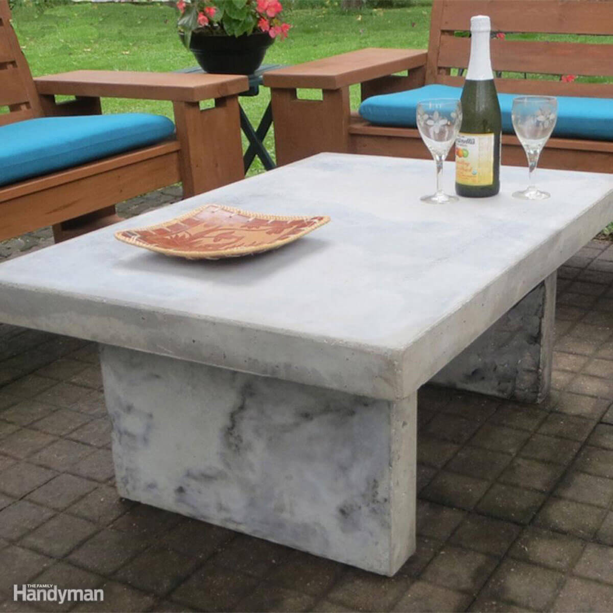 awesome plans for diy patio furniture the family handyman quikretelede faux marble table outdoor side bbq legs tables live edge end wood sofa coffee small wooden bedside lamp