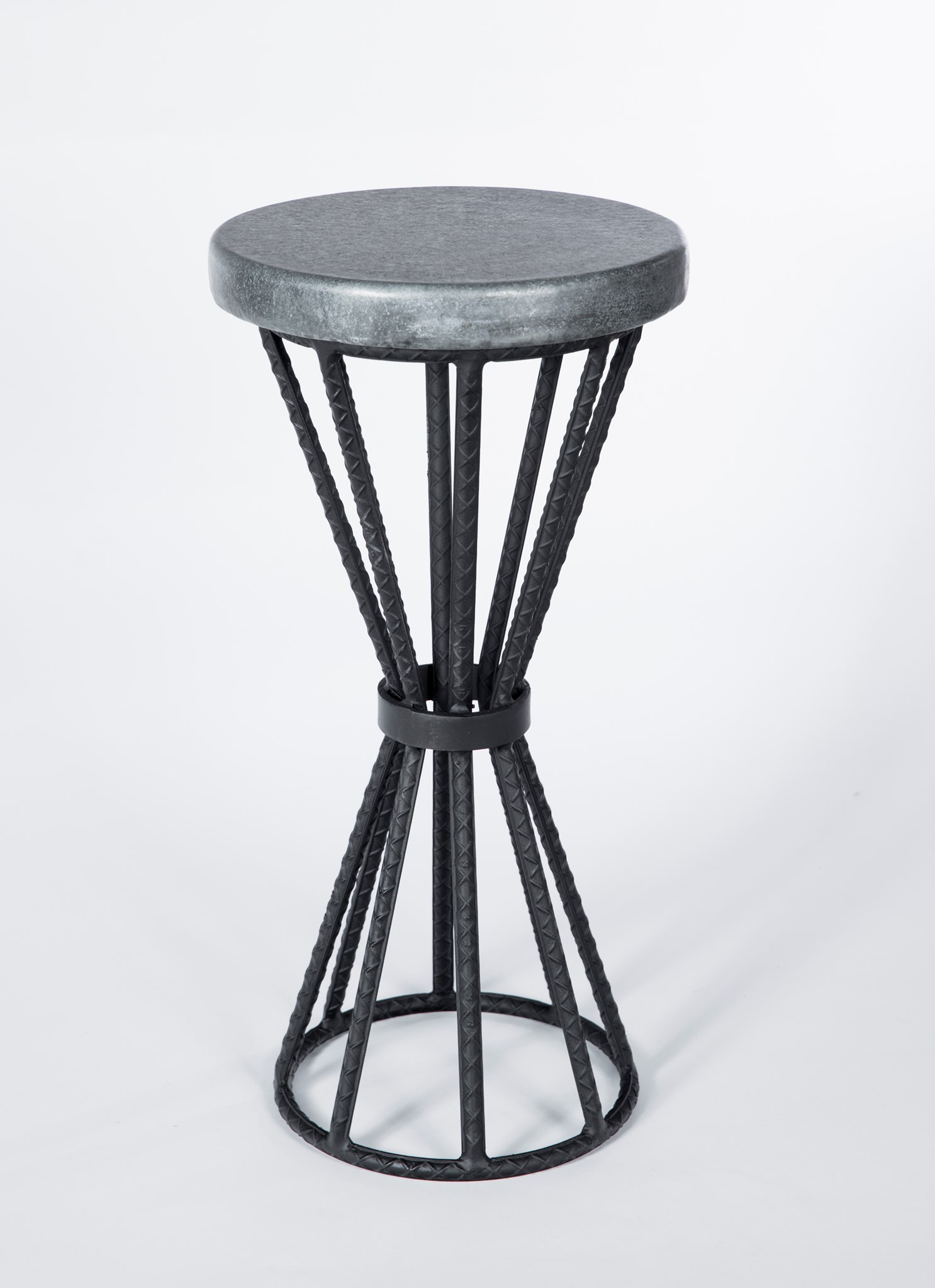 axel accent table rebar with round hammered zinc top boulevard urban living unfinished base ikea wooden storage box lid fire pit and chairs slimline console grey marble dining