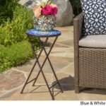 azure outdoor round tile side table planter christopher knight home mosaic stone accent free shipping orders over bar height patio furniture chestnut reclaimed wood coffee drum 150x150
