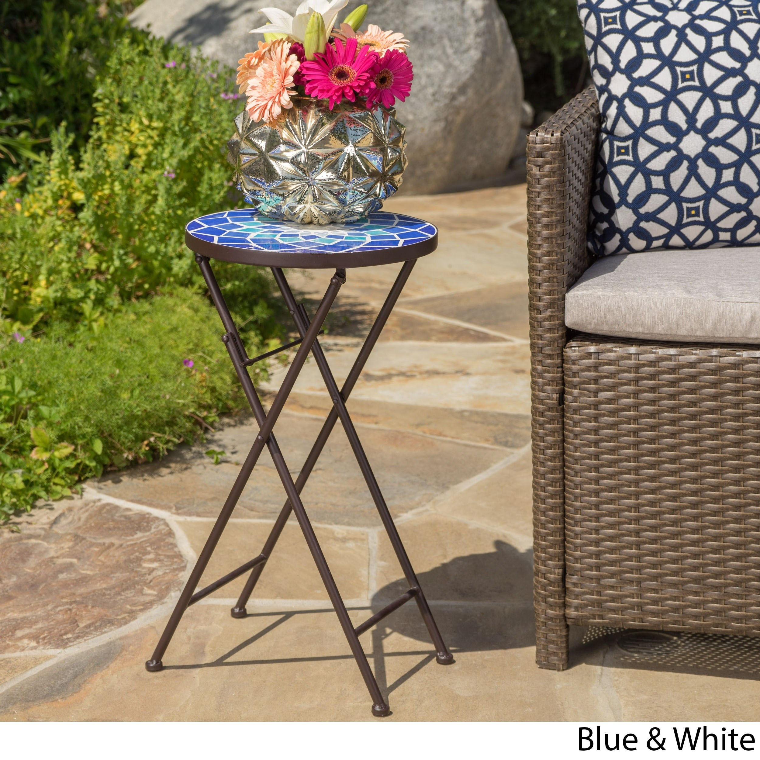 azure outdoor round tile side table planter christopher knight home mosaic stone accent free shipping orders over bar height patio furniture chestnut reclaimed wood coffee drum