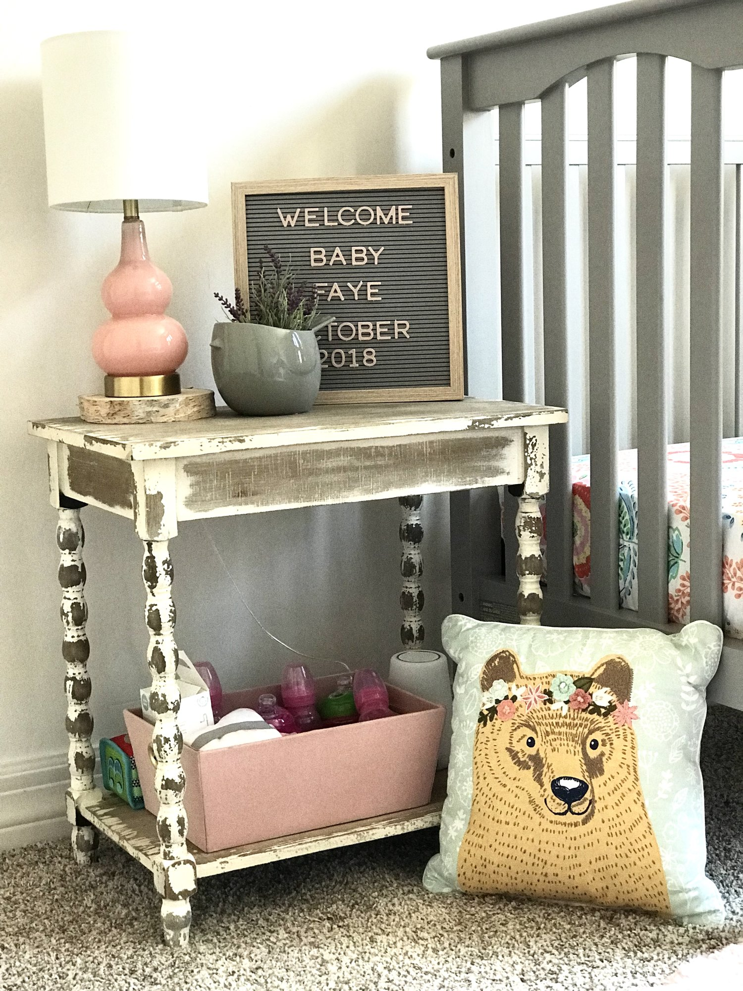 baby fresh coat img hobby lobby accent tables found this great rustic wood table you guessed paired with that adorable pillowfort bear pillow target marquee kirkland wrought iron