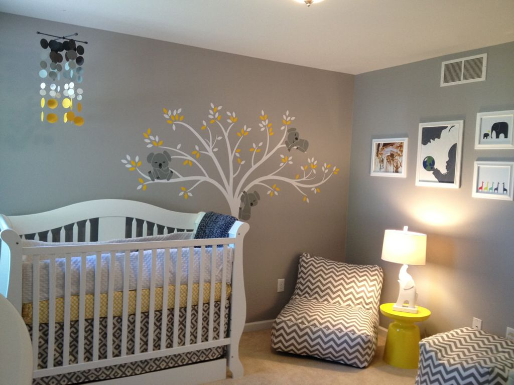 baby room astounding gray nursery ideas with white accent and amazing themed design yellow table crib also chevron lounge sofa plus tree wall art decal for wooden combine pottery