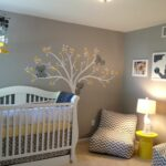 baby room simple gray nursery design with vintage white amazing themed yellow table and crib also chevron lounge sofa plus tree wall art decal accent wooden drop leaf dining 150x150