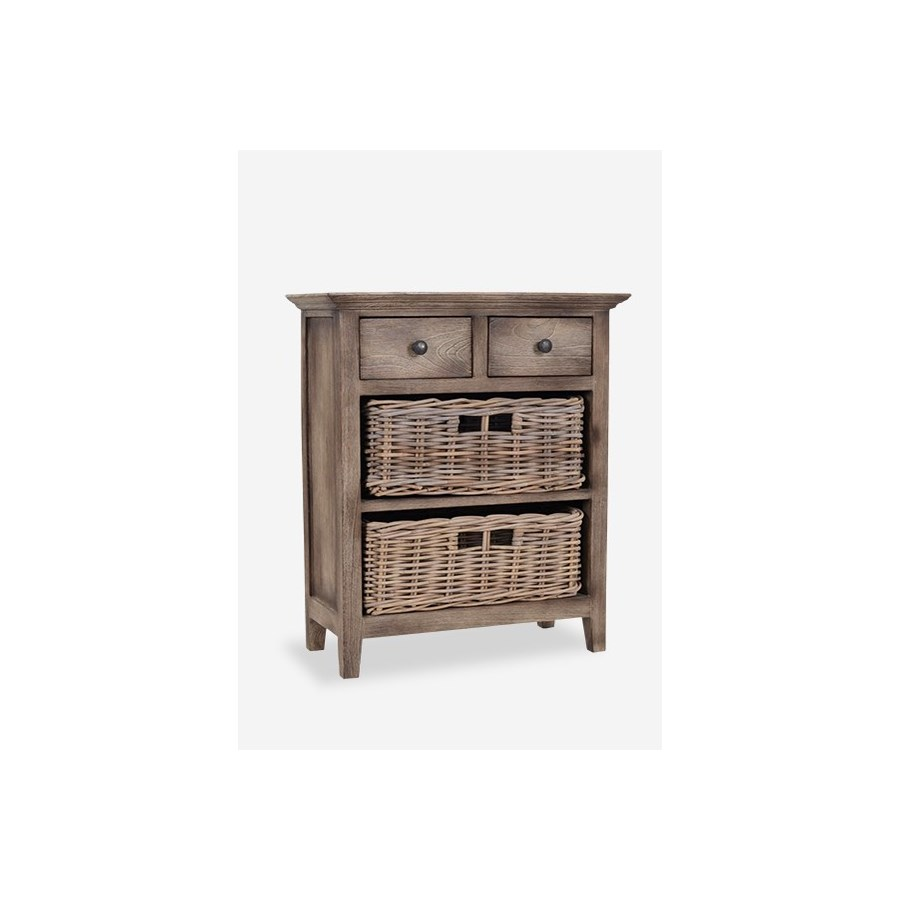 baker cabinet with drawers rattan baskets vintage grey accent table tables wooden shelving units beach cottage decor tall bedside west elm box frame dining funky chairs hooker end