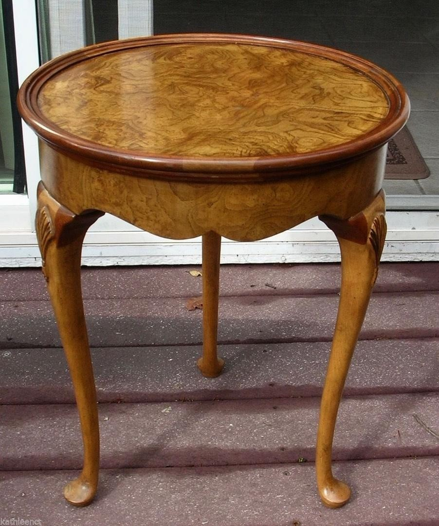 baker furniture queen anne burl burled walnut wood round end side accent table small square glass coffee and sets large drop leaf dining mid century parker wagon wheel behind sofa