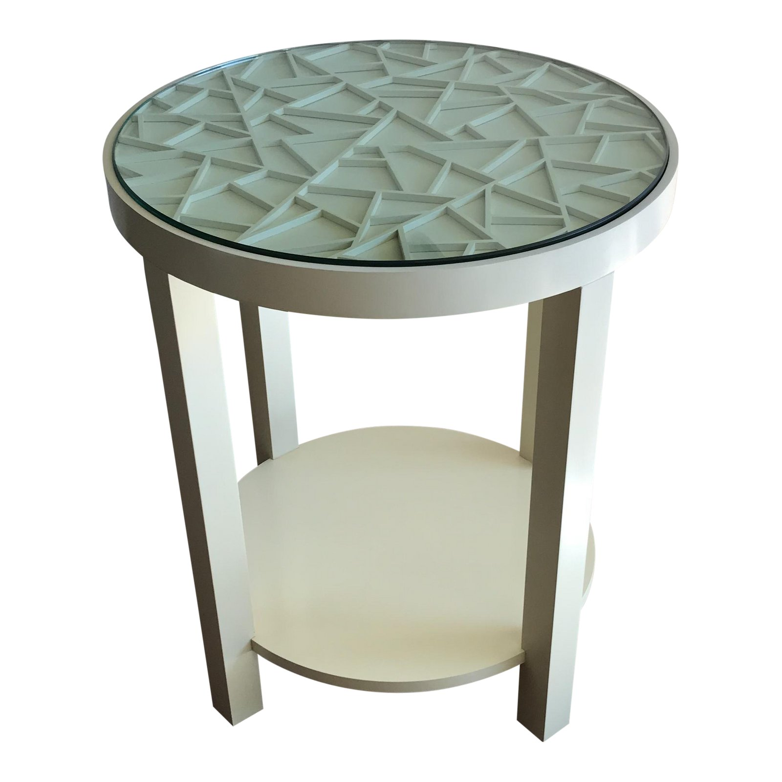 baker furniture round off white with glass top accent table chairish square dining room oval lucite coffee chairs edmonton wood and end tables blue porcelain lamps tall console