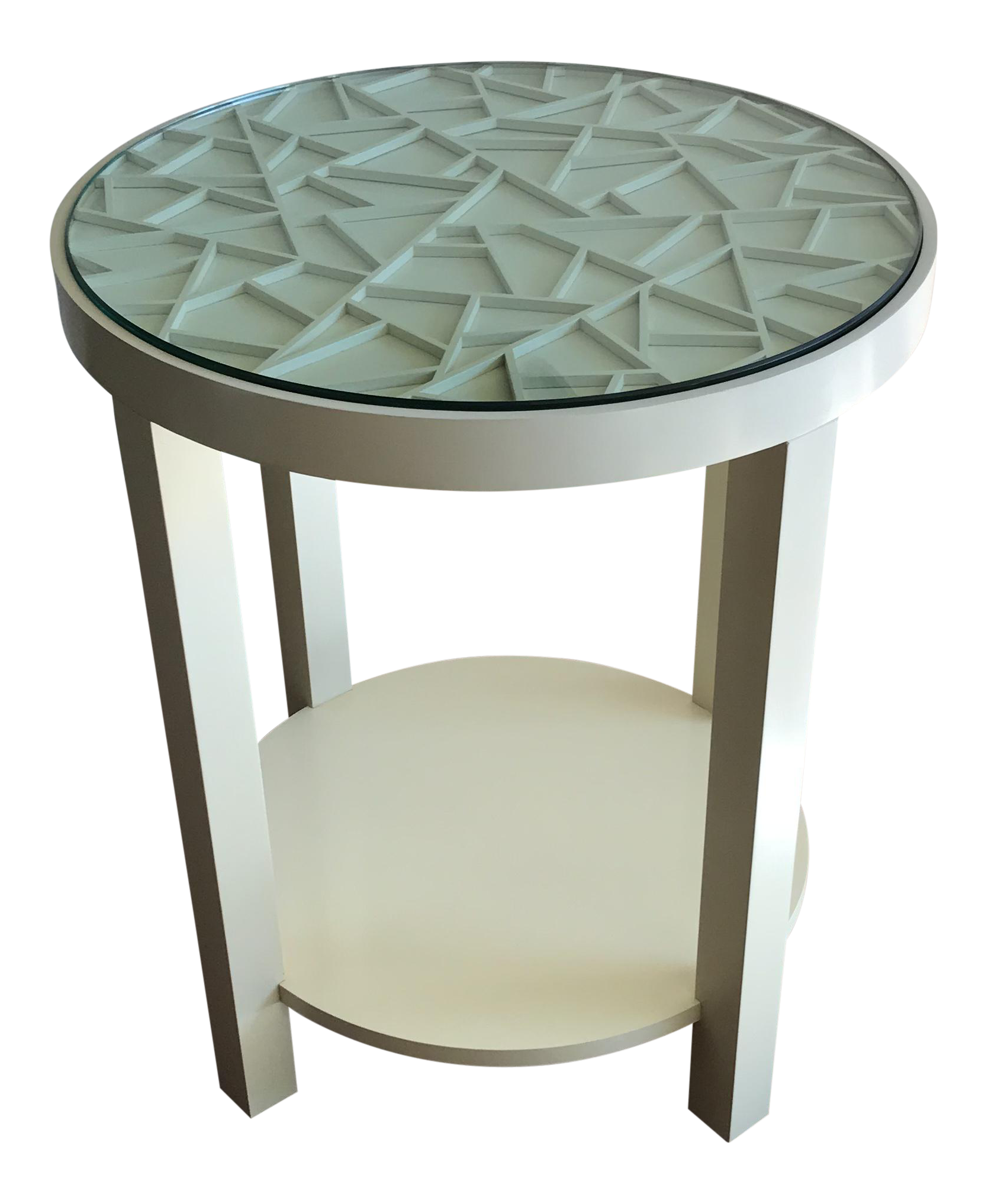 baker furniture round off white with glass top accent table chairish wall decor black and dining acrylic entry deck umbrella garden marble designs transitional chrome side under