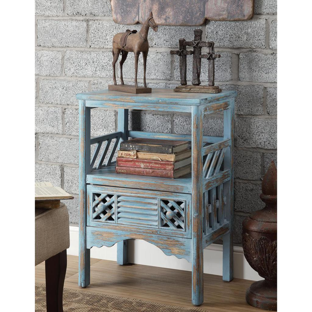 bali blue rub through one drawer accent table casaza coffee sets with storage small outdoor patio coral chair drum stool porcelain lamp living room off white end tables decoration