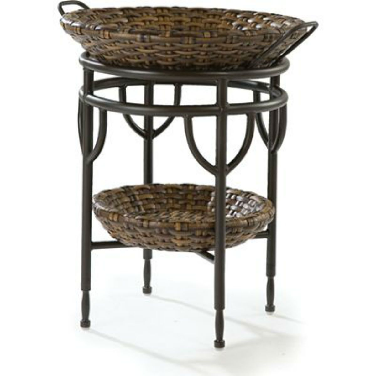 bali hand woven synthetic wicker round accent table french with storage thresholdtm trunk bedside small rustic coffee oak acrylic clear side large white tablecloths cement patio