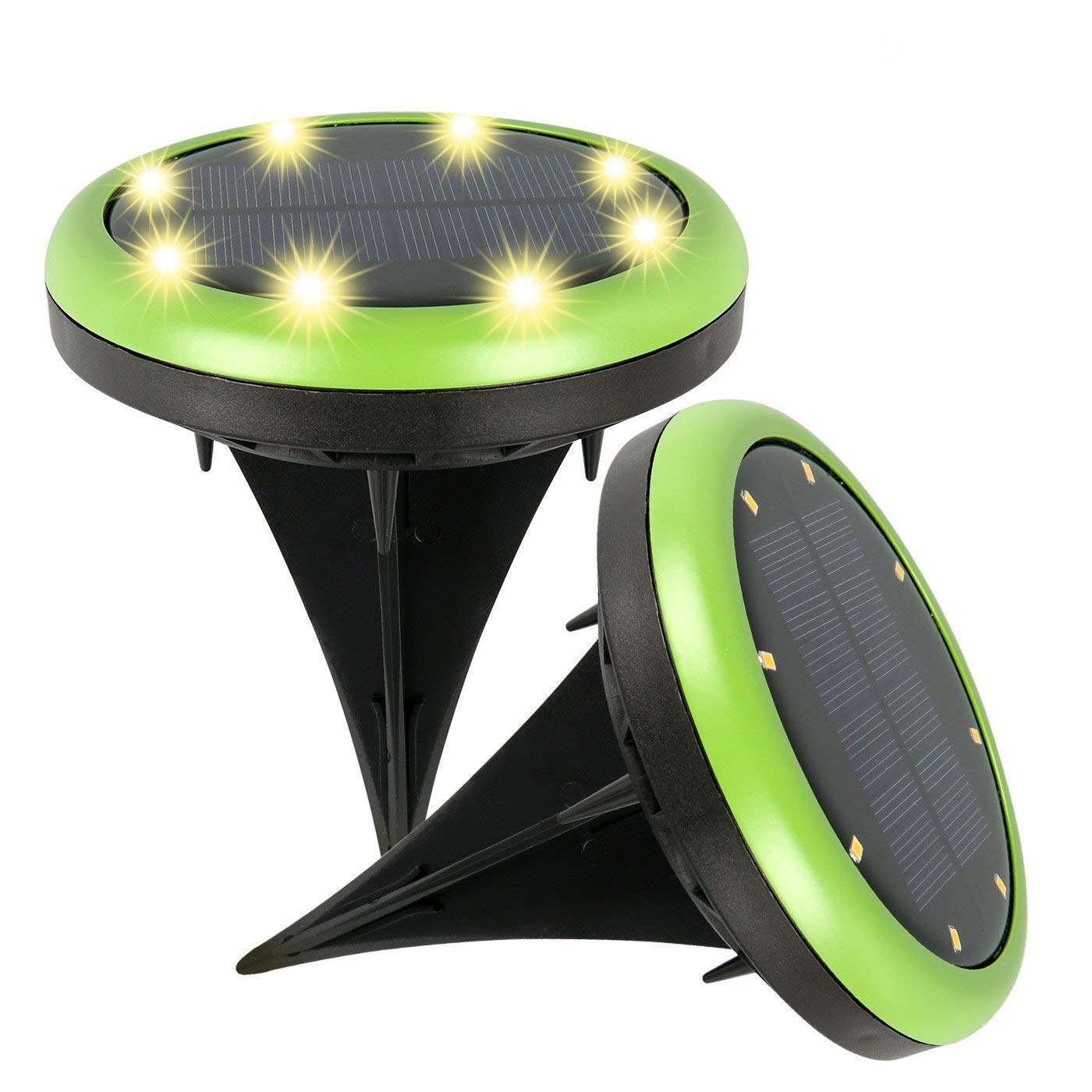 balight solar powered disk lights for home outdoor yard metal accent table driveway lawn pathway decoration led waterproof pack cell phones accessories indoor mat brown leather