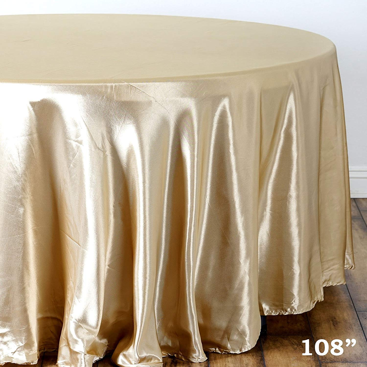 balsacircle inch champagne round satin tablecloth for accent table cover linens wedding party catering kitchen dining events home pier one chairs concrete top outdoor pub height