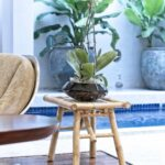 bamboo side table plant stand accent indoor outdoor use new foyer with storage comfortable drum throne patio clearance alexa home automation mirror lamp gray centerpiece ideas for 150x150