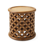bamileke outdoor side table serena lily furn weathered dune crop brown mirimyn accent rustic wooden trestle nautical bedside lamps wood and iron coffee sets windham storage 150x150