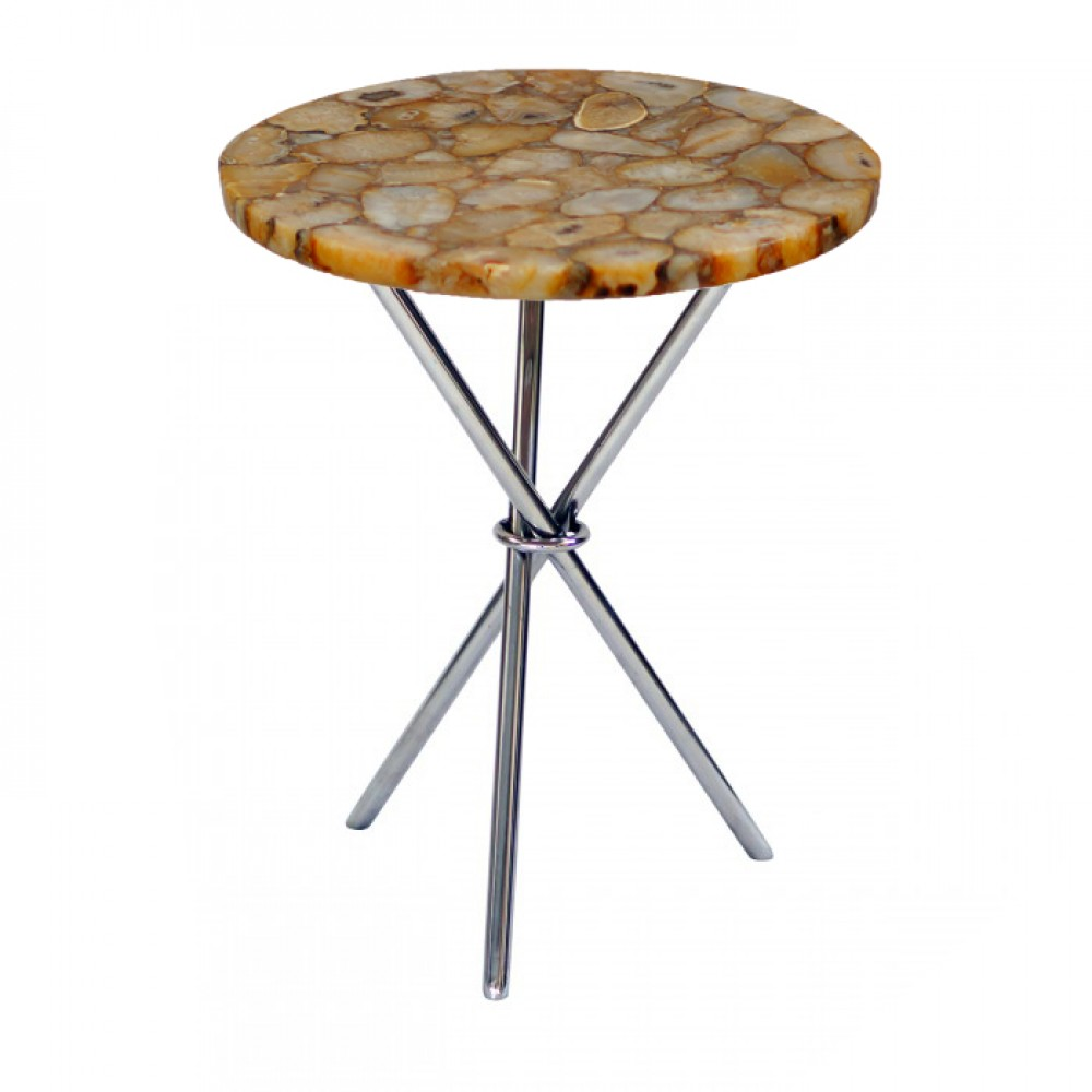 banded brown agate side table round with chrome finished legs accent sun garden umbrella tiffany pond lily lamp large tilting patio pottery barn coffee solid wood end drawer ethan