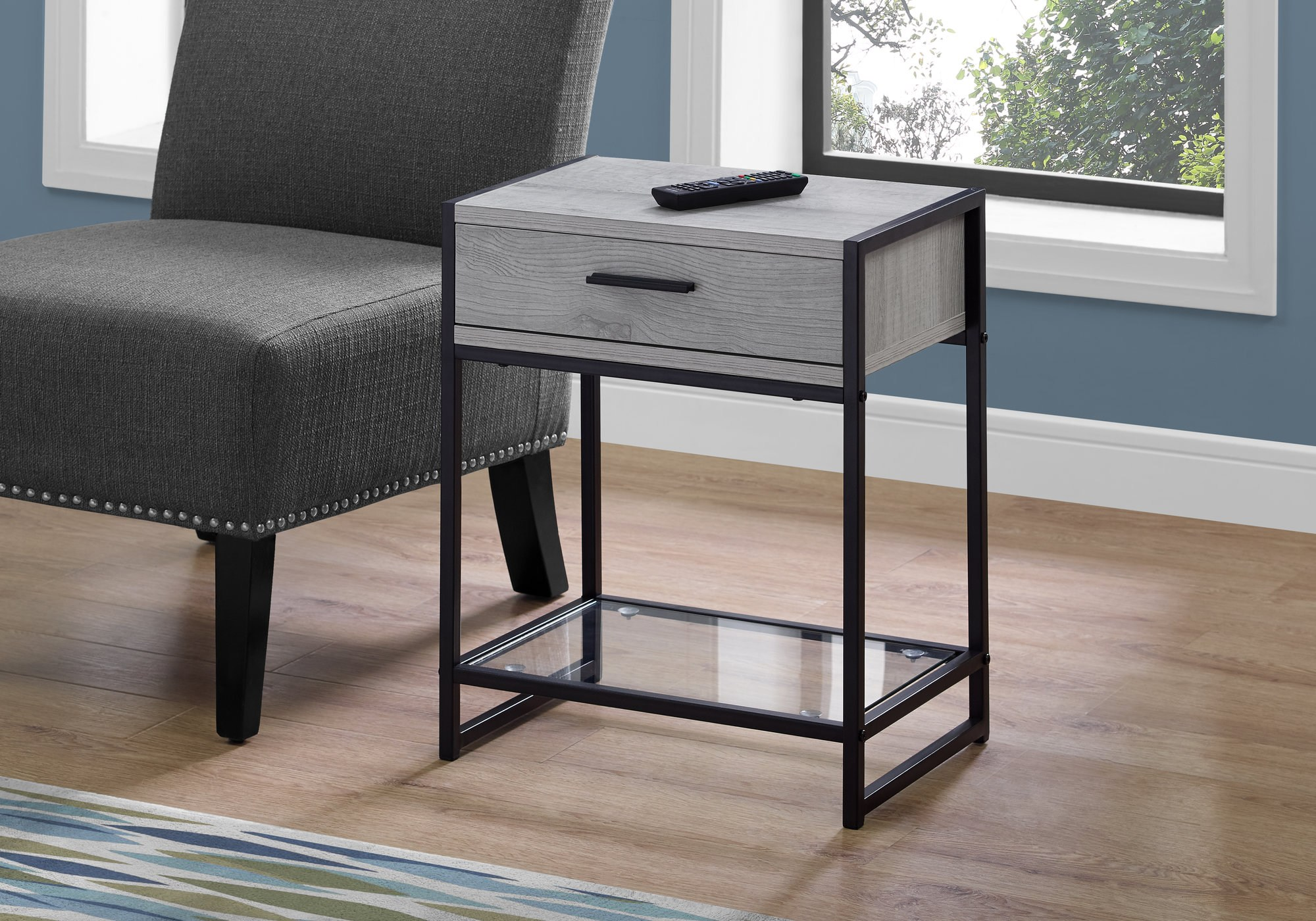 bandiwood gray accent table tables colors wood black marble dining set linen covers coffee side seaside decor barnwood ideas champagne mirrored furniture long nightstand patio