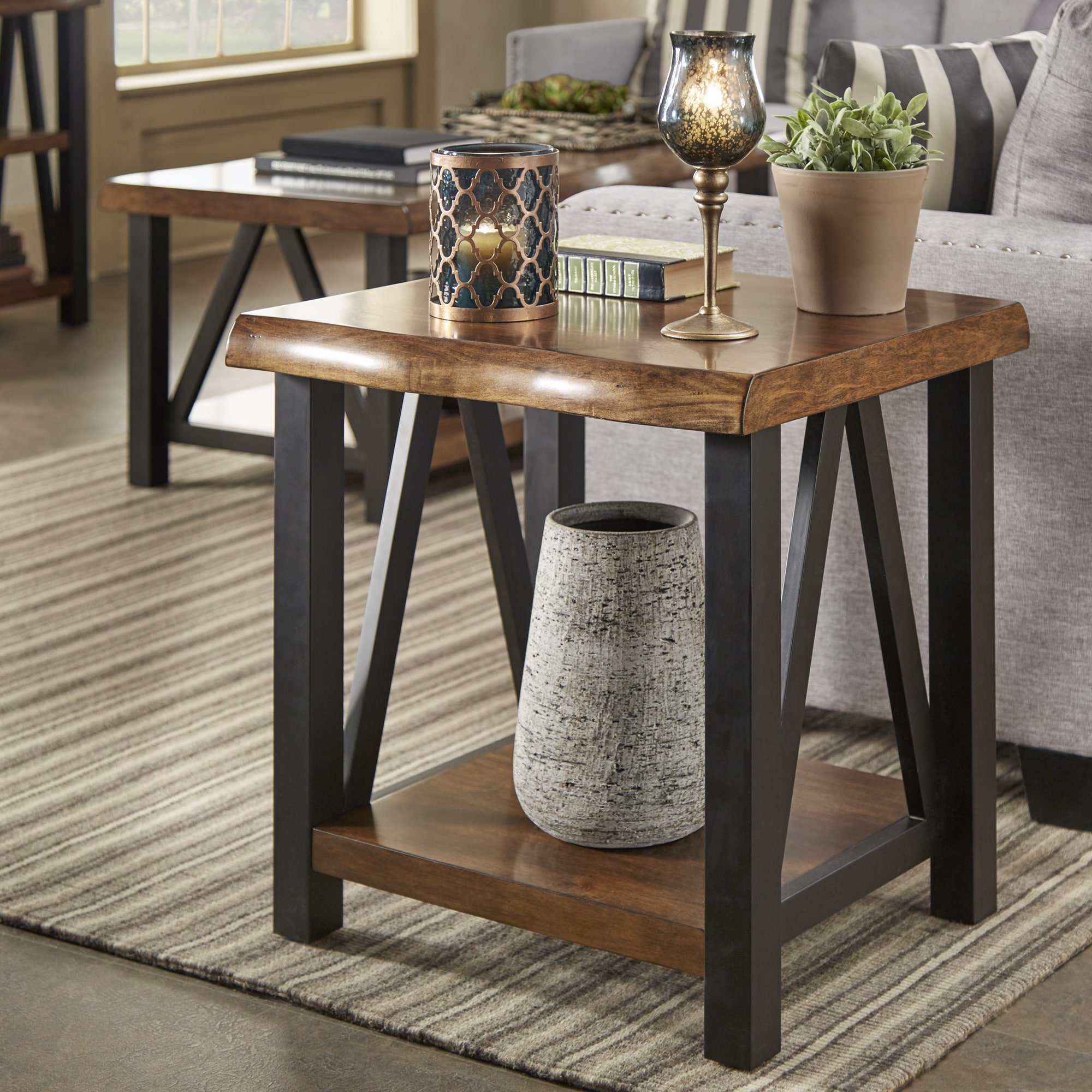 banyan live edge wood and metal accent tables inspire artisan table grey end distressed white sofa vintage brass side pier imports retro kitchen bedroom furniture night stands