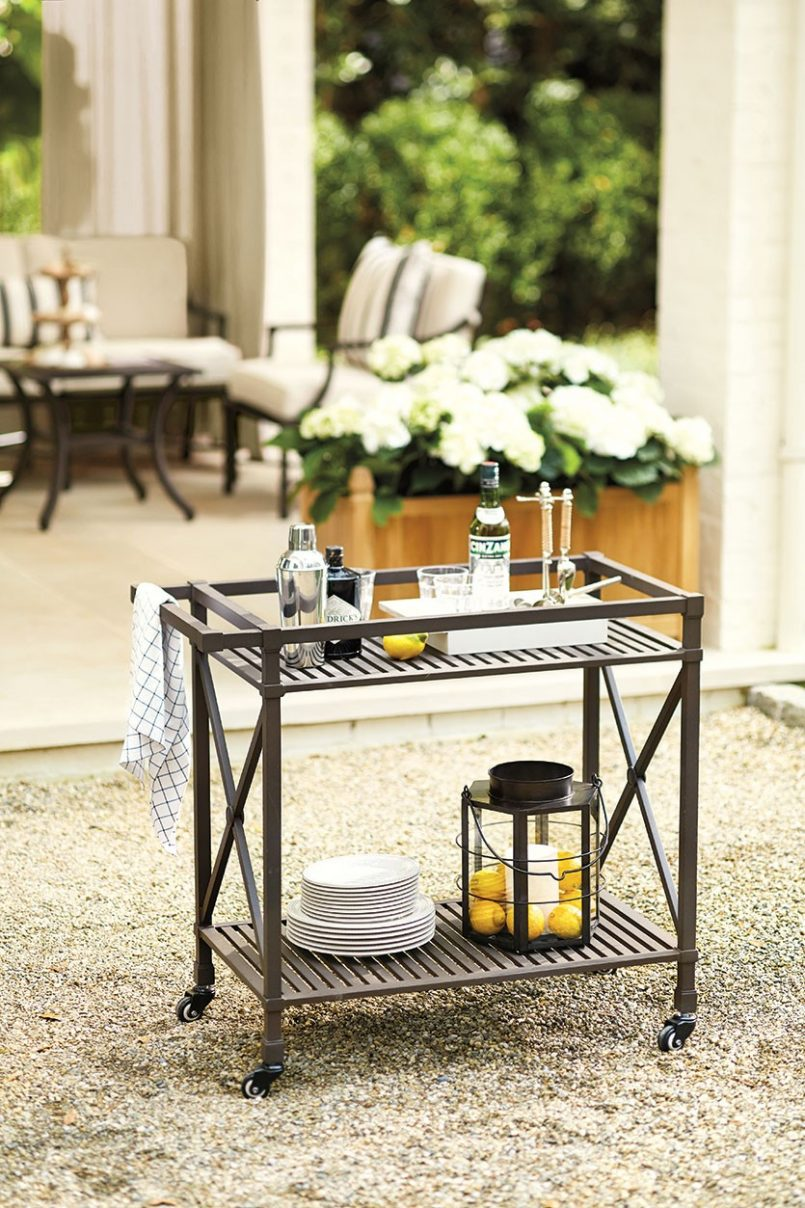 bar cart outdoor metal serving table trolley threshold grill station patio service small vintage side edwards furniture rustic coffee set wine and liquor cabinets accent chairs