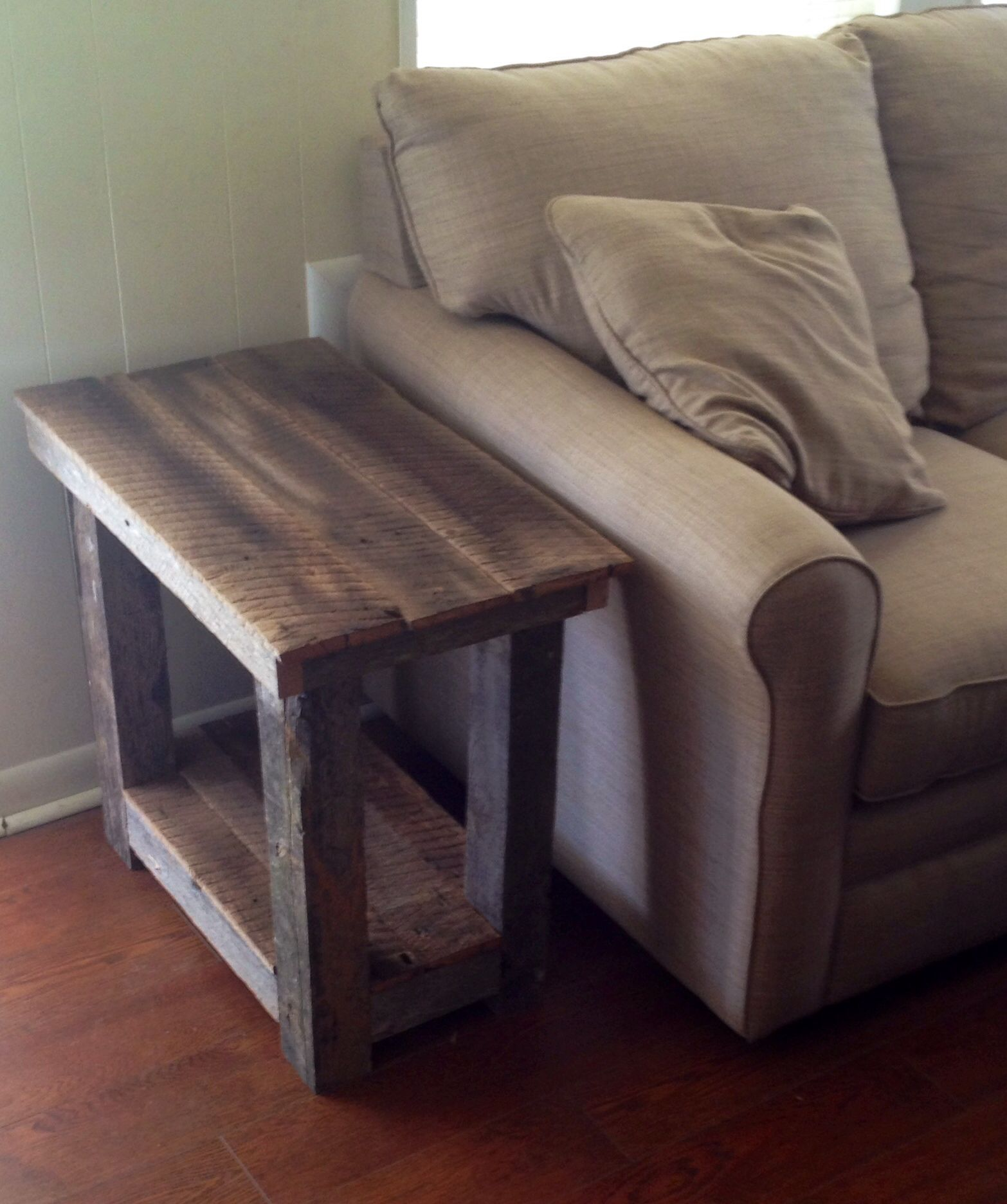 barn wood end table built from old field here what rustic reclaimed accent tables looks like next the couch marble top pedestal outdoor beach decor side storage cabinet pink lamp