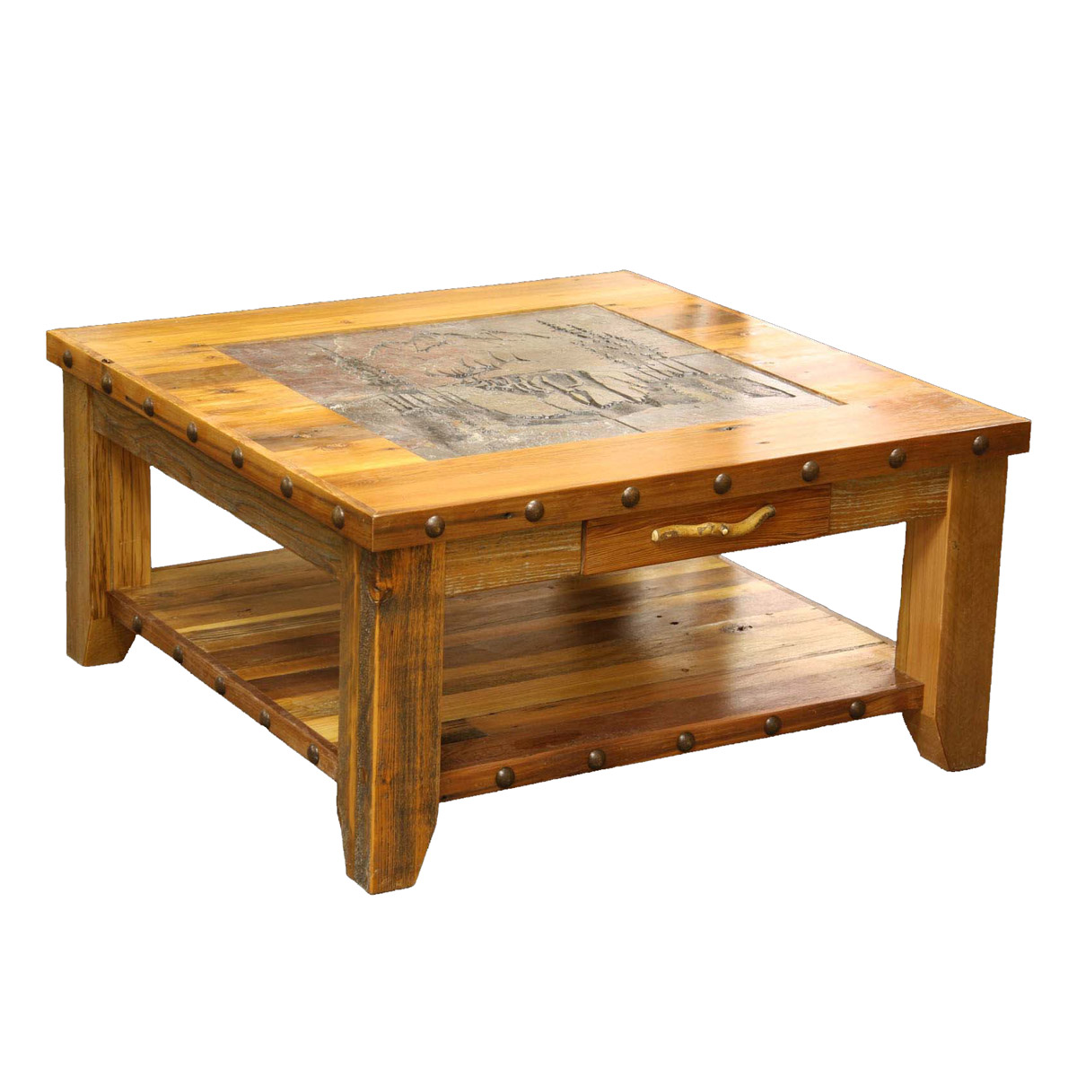 barnwood elk scene tile top coffee table with nailheads accent bistro set small glass bedside west elm chairs buffet side inch wall clock square metal end cooler stable target