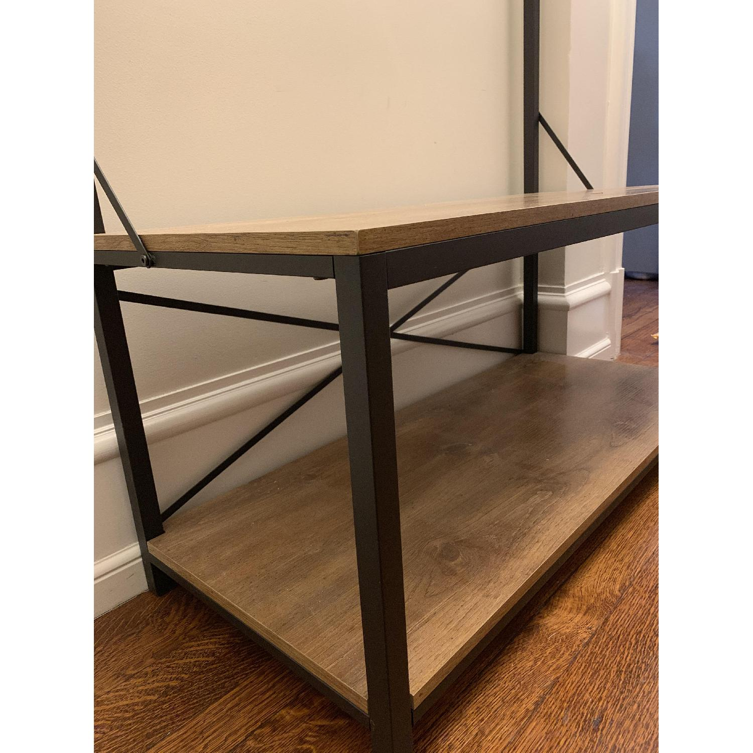 barnwood metal wood hall tree aptdeco frame accent table white glass side desk furniture curved patio umbrella clear bedside lamps dale tiffany lamp outdoor end tables small