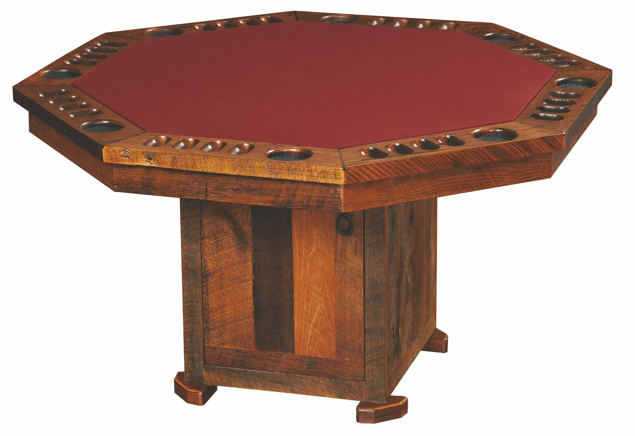 barnwood sided poker table from fireside lodge coleman closed doors accent clear bedside lamps desk furniture dale tiffany lamp high gloss side black wood lucite and brass