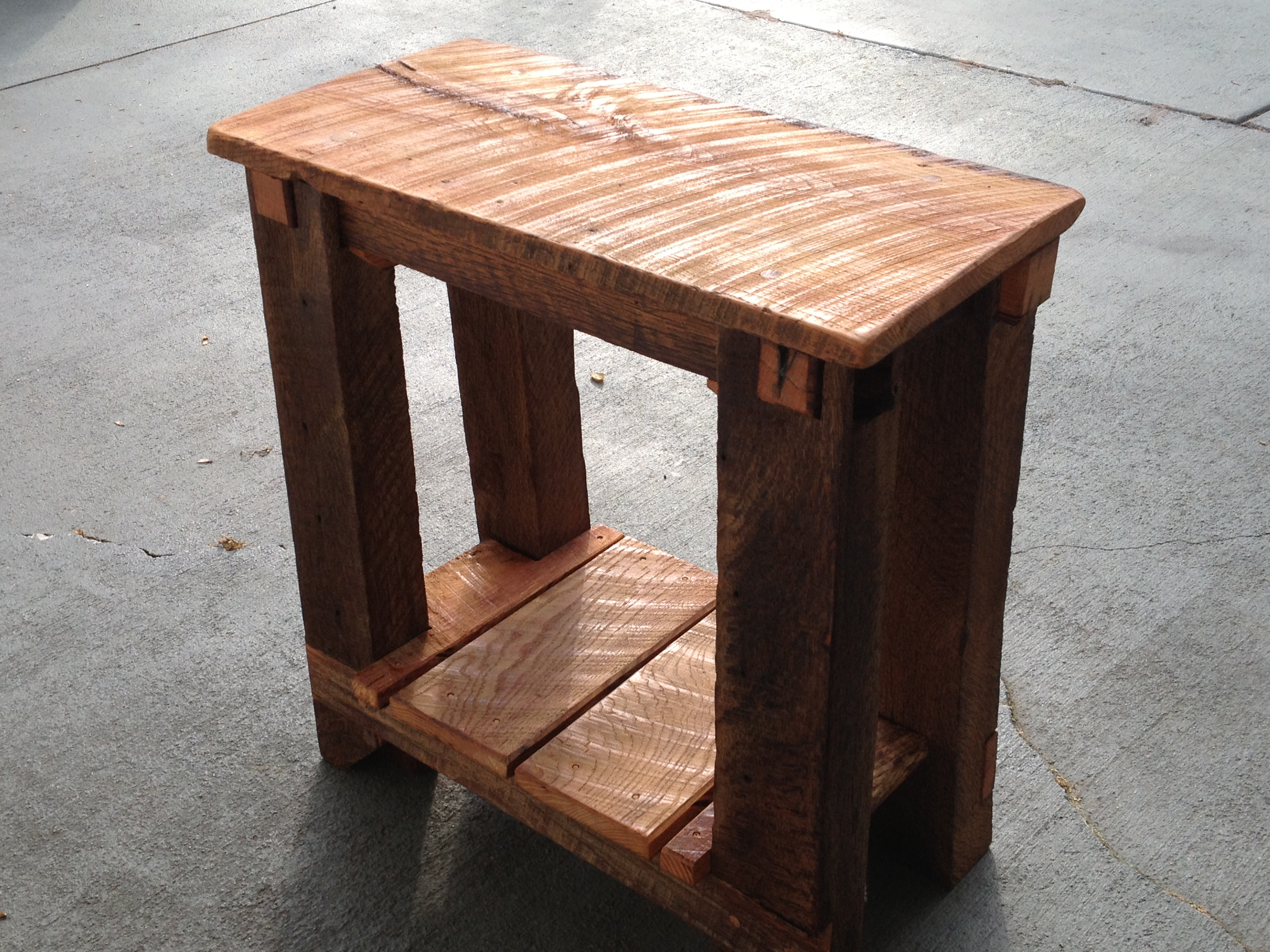 barnwood tables the coastal craftsman img accent table long natural finish reclaimed white oak thecoastalcraftsman lucite sofa screen porch furniture luxury tablecloths and brass