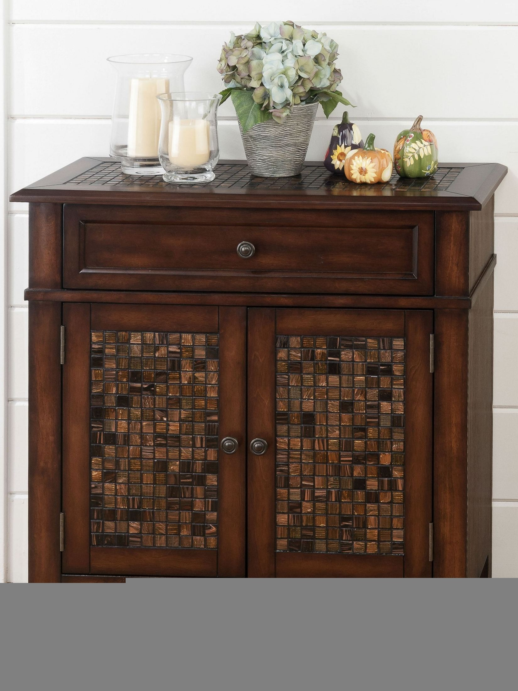 baroque brown mosaic tile inlay accent cabinet from jofran coleman occ wood table wrought iron end with marble top side chairs arms console set ikea fabric storage coffee bench