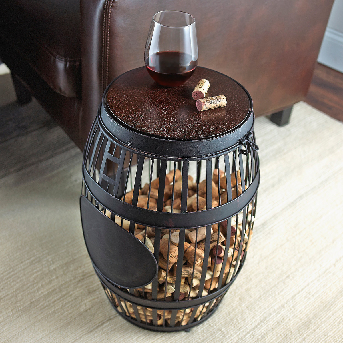 barrel cork catcher accent table that cool beautiful round tablecloths unfinished wood dresser hallway runners sears coffee small rectangular outdoor black glass hardwood floor