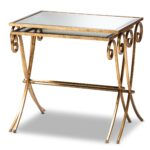 baxton studio ambre modern and contemporary antique gold finished faceted accent table with glass top metal mirrored piece stackable tray set coffee brass side carolina furniture 150x150