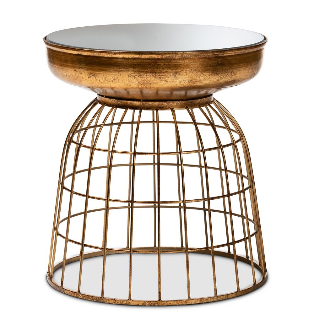 baxton studio andreia antique gold cage accent table end tables retro tool chest with tools cordless led lights grey cabinet small square tablecloth black legs half low bedside