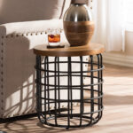 baxton studio carie rustic industrial style antique black textured accent table finished metal distressed wood display coffee plans round silver outdoor furniture calgary cube 150x150