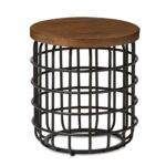 baxton studio carie rustic industrial style antique black textured metal accent table finished distressed wood vintage lucite triangle side mid century legs pier one imports and 150x150