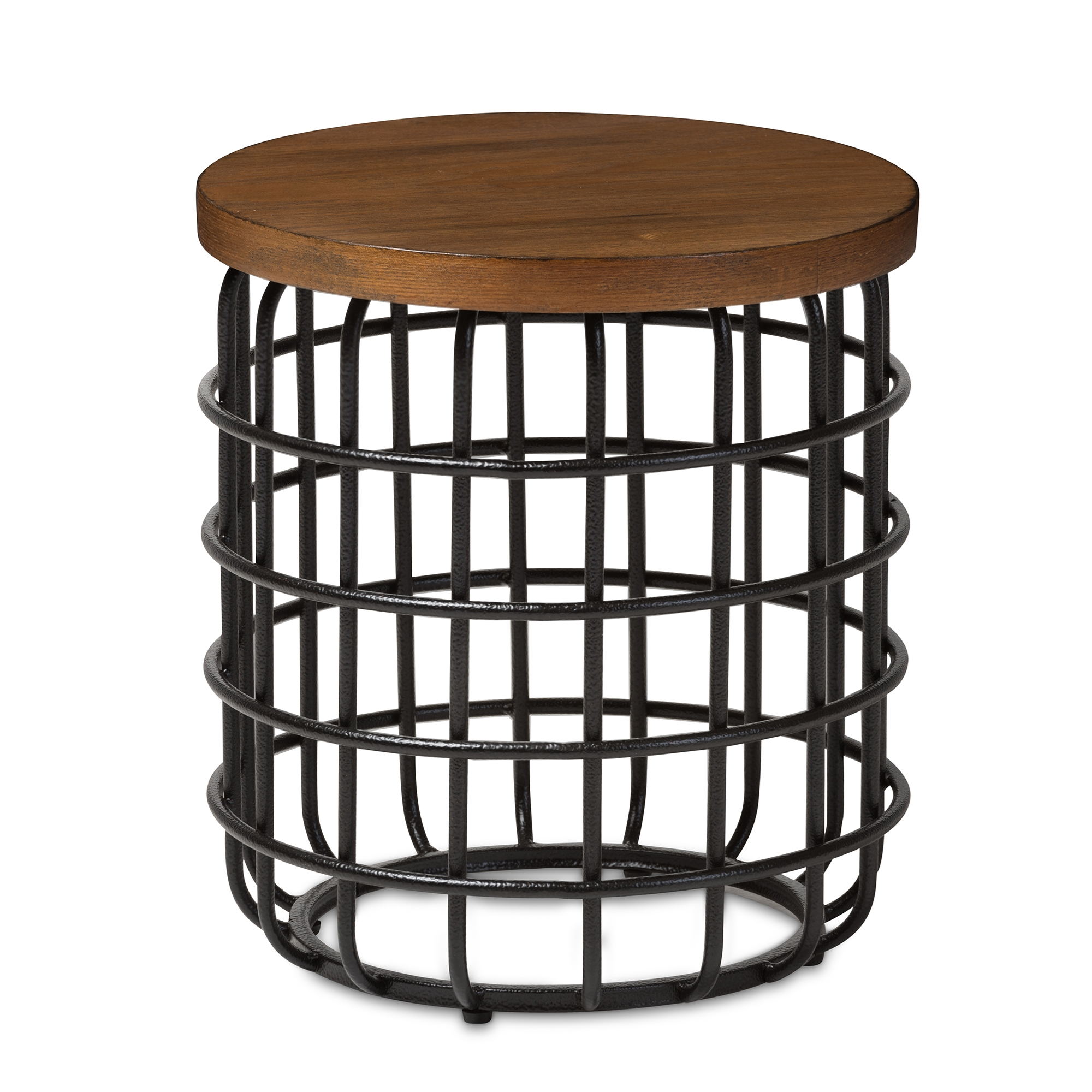 baxton studio carie rustic industrial style antique black textured metal accent table finished distressed wood vintage lucite triangle side mid century legs pier one imports and