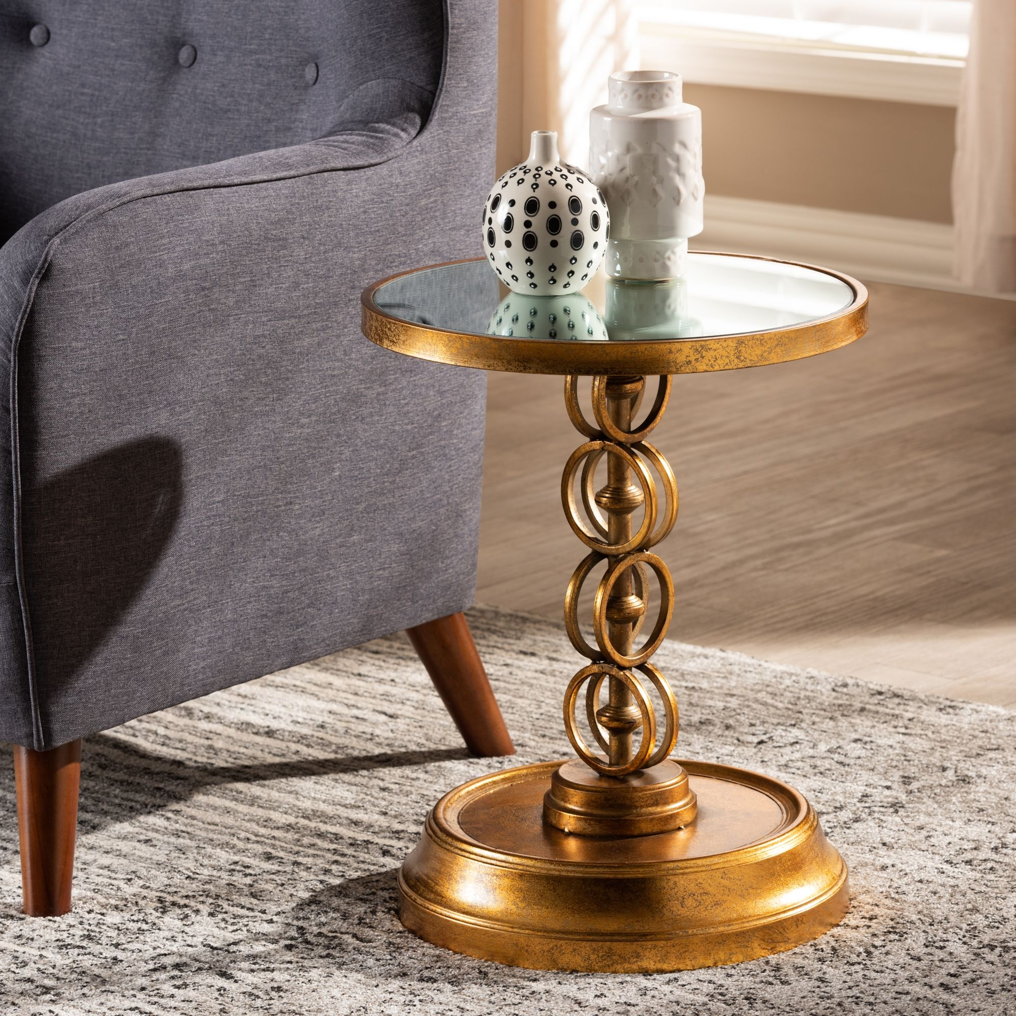 baxton studio cressida modern and contemporary antique gold finished mirrored glass accent table metal dryers small bar height oak trestle weber side half round hall black cherry