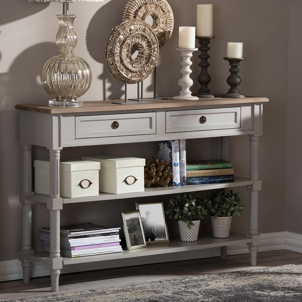 baxton studio edouard french inspired white console table light brown tables hooper accent entryway storage furniture wells chair pottery barn target bench yellow wingback