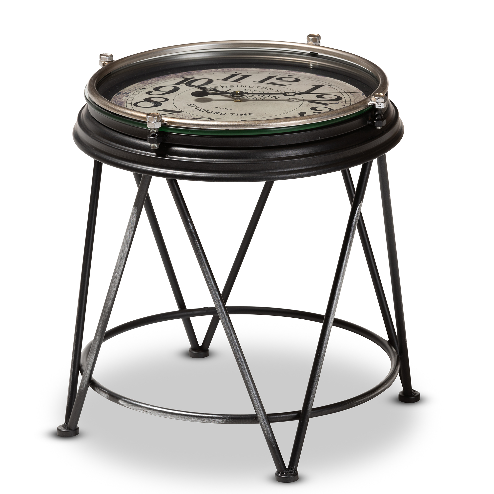 baxton studio giles vintage industrial matte black finished metal accent table with inlaid clock nautical pendant lights cement outdoor dining lucite room round pedestal wood frog