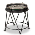 baxton studio giles vintage industrial matte black finished metal accent table with inlaid clock round marble coffee target small white gloss console ikea cocktail tables red 150x150