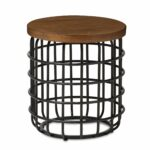 baxton studio heli rustic industrial distressed wood accent style antique black textured finished metal and table free shipping today outdoor seating crystal bedside lights high 150x150