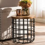 baxton studio heli rustic industrial distressed wood accent table style antique black textured finished metal and free shipping today razer ouroboros review garden furniture house 150x150